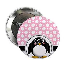 "Cute Penguin Pink Polka Dot 2.25"" Button"