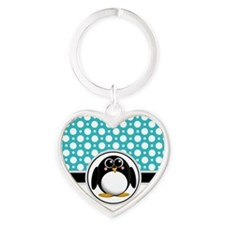 Cute Penguin Teal Polka Dot Heart Keychain