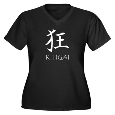 Kitigai Women's Plus Size V-Neck Black T-Shirt