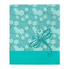 Light Blue Dragonfly Art Throw Blanket