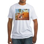 Van Gogh's Room & Basset Fitted T-Shirt