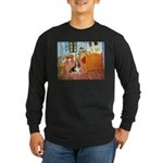 Van Gogh's Room & Basset Long Sleeve Dark T-Shirt