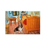 Van Gogh's Room & Basset Rectangle Magnet