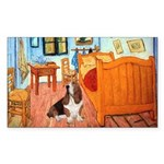 Van Gogh's Room & Basset Sticker (Rectangle)