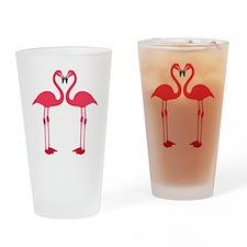 flamingo love birds Drinking Glass