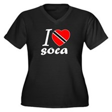 I love Soca Women's Plus Size V-Neck Dark T-Shirt