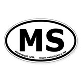 Mississippi, USA Oval Car Sticker (Euro Style)