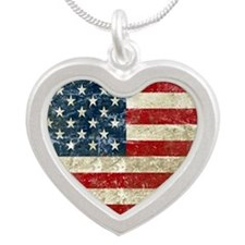 USA Patriotic Silver Heart Necklace