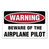 Warning Airplane Pilot Rectangle Decal