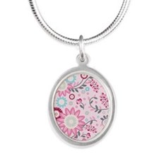 FlowerVines_Pink_Large Silver Oval Necklace