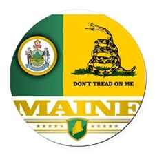 Maine Gadsden Flag Round Car Magnet