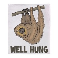 The Well Hung Sloth Throw Blanket