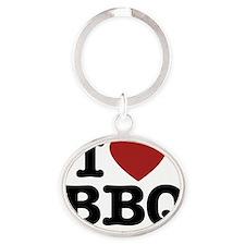 I heart BBQ Oval Keychain