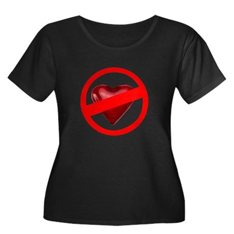 No Love Women's Plus Size Scoop Neck Dark T-Shirt