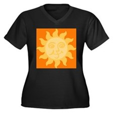 Happy Sun Women's Plus Size V-Neck Dark T-Shirt