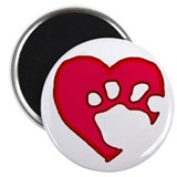 Two Tone Paw 'N Heart Magnet