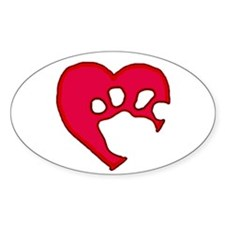 Two Tone Paw 'N Heart Oval Decal