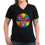 STOP BREEDING Intolerance Women's V-Neck Dark T-Sh