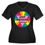 STOP BREEDING Intolerance Women's Plus Size V-Neck