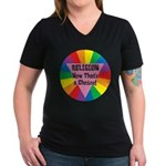 RELIGION CHOICE Women's V-Neck Dark T-Shirt