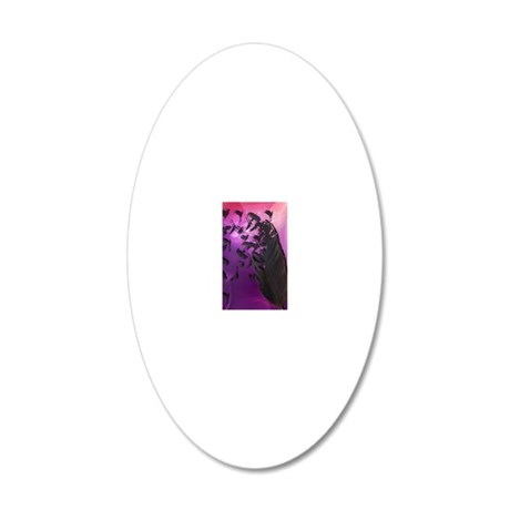 Crow Feather Purple 20x12 Oval Wall Decal