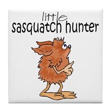 Little Sasquatch Hunter Tile Coaster
