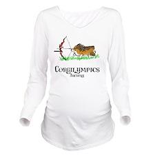 Corgilympics: Archer Long Sleeve Maternity T-Shirt