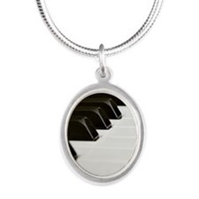 Piano Keys Silver Oval Necklace