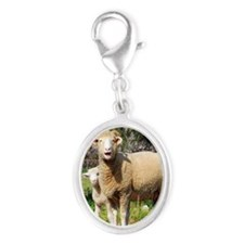 Horned Dorset and Lamb upright Silver Oval Charm