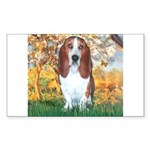 Monet's Spring & Basset Sticker (Rectangle)
