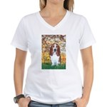 Monet's Spring & Basset Women's V-Neck T-Shirt