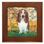 Monet's Spring & Basset Framed Tile