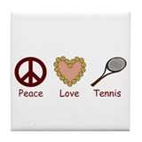 Peace Love &amp; Tennis Tile Coaster