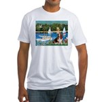Sailboats & Basset Fitted T-Shirt