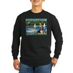 Sailboats & Basset Long Sleeve Dark T-Shirt