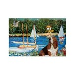 Sailboats & Basset Rectangle Magnet