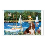 Sailboats & Basset Sticker (Rectangle)