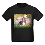 Basset in the Garden Kids Dark T-Shirt