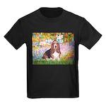 Basset in the Garden Kids Dark T-Shirt