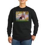 Basset in the Garden Long Sleeve Dark T-Shirt