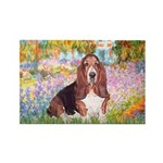 Basset in the Garden Rectangle Magnet