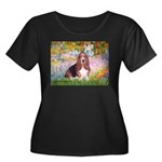 Basset in the Garden Women's Plus Size Scoop Neck
