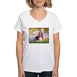 Basset in the Garden Women's V-Neck T-Shirt