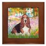 Basset in the Garden Framed Tile