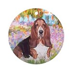 Basset in the Garden Ornament (Round)