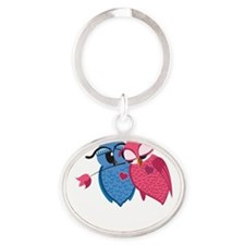 Romantic Owls Oval Keychain