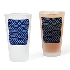 Navy Blue Quatrefoil Pattern Drinking Glass