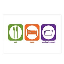 Eat Sleep Medical Records Postcards (Package of 8)