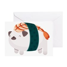 Shrimp Nigiri Pug Greeting Card