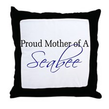 Proud Mother of a Seabee (blu Throw Pillow